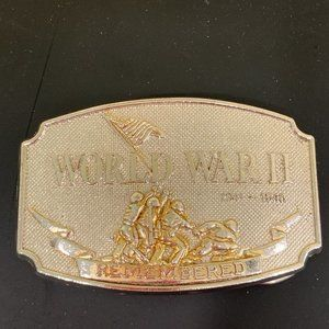 Vintage 1990 WORLD WAR II REMEMBERED Belt Buckle